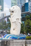 15 Singapore-augustus, 2016 de Merlion-fontein in Singapore Stock Foto's