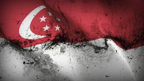 Singapore grunge dirty flag waving on wind. Singapore background fullscreen grease flag blowing on wind. Realistic filth fabric texture on windy day Stock Image