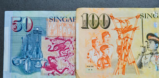 Singapore banknote dollar SGD. Details of Singapore banknotes 50-100 SGD - currency concept - close up Stock Photo