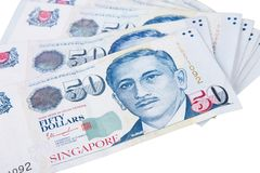 Singapore banknotes dollars 50 SGD isolated on white backgroun. Singapore banknotes dollars 50 SGD isolated on a white background Royalty Free Stock Images