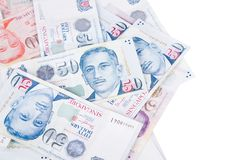Singapore banknotes dollars 50 SGD isolated on white backgroun. Singapore banknotes dollars 50 SGD isolated on a white background Royalty Free Stock Photo