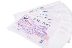 Singapore banknotes dollars 2 SGD isolated on white background. Singapore banknotes dollars 2 SGD isolated on a white background Stock Photography