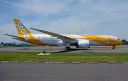 Singapore based Scoot Airlines Boeing 787-9 dreamliner`s side shot Royalty Free Stock Photography