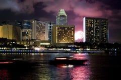 Singapore bij Nacht Stock Foto's