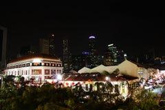 Singapore bij nacht 2 Royalty-vrije Stock Afbeeldingen