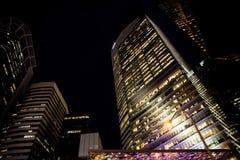 Singapore bij nacht Stock Foto
