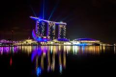 Singapore bij nacht royalty-vrije stock fotografie