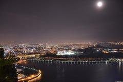 Singapore bij nacht Royalty-vrije Stock Afbeelding