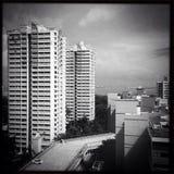 Singapore bilder - byggnadsb&w Arkivbilder