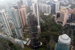 Singapore Bird View. SINGAPORE/SINGAPORE - CIRCA NOVEMBER 2015: View of the Singapore skyscrapers from the top of the ION Sky shopping center in Orchard Road royalty free stock photography