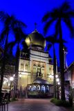 Singapore:Blue hour shot of Masjid Sultan Singapura Mosque. The magnificent 1924-28 Masjid Sultan Singapura Mosque in the Kampong Glam Arab Quarter is Singapore' Stock Image