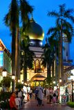 Singapore:Blue hour shot of Masjid Sultan Singapura Mosque. The magnificent 1924-28 Masjid Sultan Singapura Mosque in the Kampong Glam Arab Quarter is Singapore` Royalty Free Stock Image