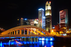 Singapore Boat Quay at night. Royalty Free Stock Photo
