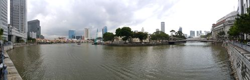 Singapore Boat Quay. Paranoma river view travel royalty free stock photo