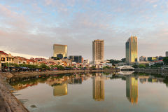 Singapore boat quay skyline at morning Royalty Free Stock Photo