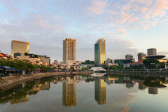 Singapore boat quay skyline at morning Stock Images