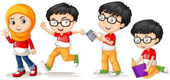 Singapore boy and girl in different actions Royalty Free Stock Photos