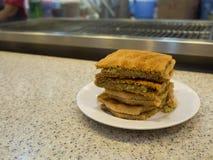 Singapore Breakfast called Kaya Toast, Coffee bread and Half boi Stock Photo