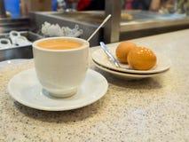 Singapore Breakfast called Kaya Toast, Coffee bread and Half boi Royalty Free Stock Image