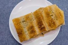 Singapore Breakfast Kaya Toast, Coffee bread and Half boiled egg Stock Image