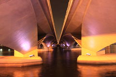 Singapore bridge croos to mariana bay in night  time Royalty Free Stock Images