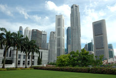 Singapore, business center stock photo