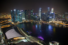 Singapore business centre at night Royalty Free Stock Images