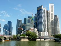 Singapore Business District. Photo is suitable for financial news/reports magazines, journals concerning Singapore Royalty Free Stock Photo