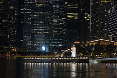 Singapore business district. Night view of the Singapore business district lights Royalty Free Stock Photos