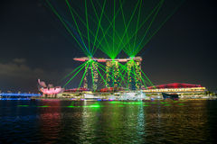 Singapore business district skyline with Laser light show at Mar Royalty Free Stock Photography