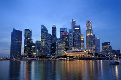 Singapore Business District skyline and river Royalty Free Stock Photos