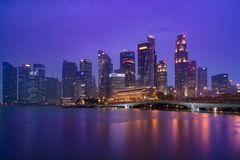 Singapore business district skyline after sun set Royalty Free Stock Photography