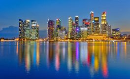 Singapore Business Financial District. Singapore business district, financial hub at Shenton Way. night landscape during blue hours from Marina Bay, colorful Royalty Free Stock Photo