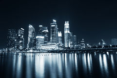 Singapore Business Skyline in blue tint Royalty Free Stock Images