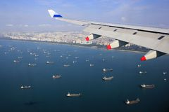 Singapore Busy Sea Aerial View. DENSITY OF SINGAPORE-Views of dense rows of boats on the waters of Singapore photographed from the plane CI0752 China Airlines stock photography