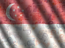 Singapore cash flag background Royalty Free Stock Image