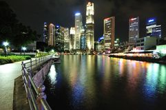 Singapore CBD at Night Royalty Free Stock Image