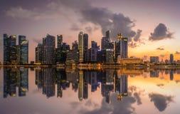 Singapore CBD in sunset stock photos