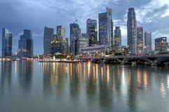 Singapore CBD, Urban Landscape. The Singapore CBD skyline as viewed from the Marina Promenade area off Marina Bay Stock Photos