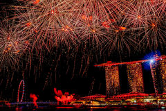 Singapore Celebrates SG50 Jubilee Birthday. Fireworks at the Marina Bay Sands Royalty Free Stock Photos