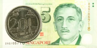 20 singapore cent coin against 5 singapore dollar banknote stock photography