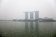 Singapore center covered in haze Royalty Free Stock Image