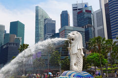 Singapore center with Merlion and skyscrapers. At day Stock Photography