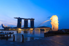 Singapore center with Merlion and skyscrapers at early morning. SINGAPORE-FEBRUARY, 18 - The Merlion fountain and Marina Bay with sunrise morning Feb 18, 2014 Royalty Free Stock Photo