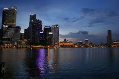 Singapore Central Business District Buildings Night time Royalty Free Stock Image