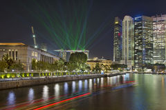 Singapore City Skyline Light Show Royalty Free Stock Photos