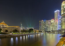 Singapore Nightline by Boat Quay royalty free stock image