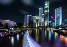 Singapore Central Business District. Marina Bay, Singapore - October 29, 2016: Beautiful Night View of Marina Bay with Singapore Central Business District at the Stock Photography