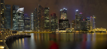 Singapore Central Business District at Night Royalty Free Stock Photography