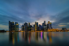 Singapore Central Business District Skyline at Blue Hour. Singapore city Central Business District CBD skyline during evening twilight blue hour Royalty Free Stock Photography